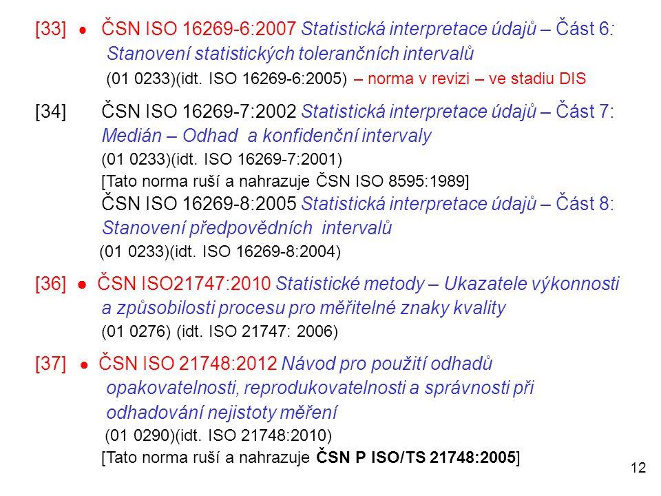 [33]  ČSN ISO 16269-6:2007 Statistická interpretace údajů – Část 6: